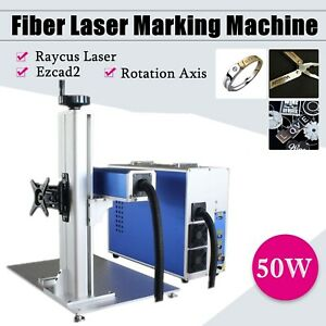 50w Fiber Laser Marking Engraving Engraver Machine Rotary Axis Raycus Laser
