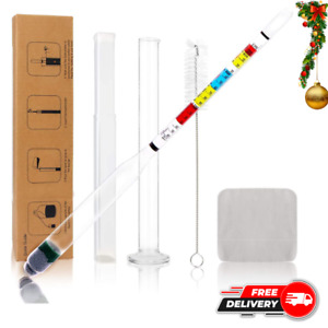 Hydrometer And Glass Test Tube Set For Wine Moonshine Beer And Mead Making 6pc