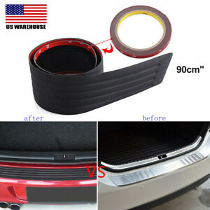 90cm Car Rear Bumper Rubber Pad Kit Guard Sill Plate Trunk Protector Trim Cover