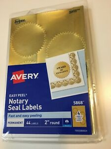 Avery Inkjet Print Or Write 2 Round Gold Notary Seal Labels 44 pk New Sealed