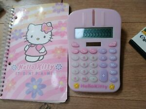 Lot 2 Hello Kitty Calculator Student Planner Pink Flowers Stickers