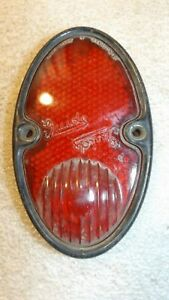 Vintage Guide Stimsonite Red Glass Tail Light Lens Chev lite With Bezel C