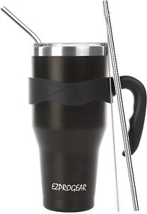 40 oz Stainless Steel Large Tumbler Double Wall Insulated Mug w Straws amp; Handle $25.95