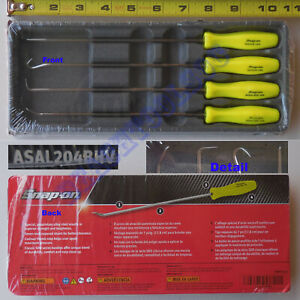 New Snap On Hi Viz Yellow Hard Grip Miniature Long Awl Pick 4 Pcs Set Asal204bhv