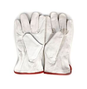 12 Pair Pack Cow Hide Grain Leather Drivers Work Safety Gloves ppe Size M