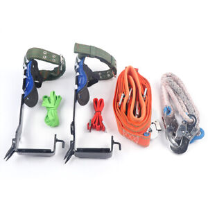 Tree pole Climbing Spike Set Adjustable Lanyard Carabiner Safety Belt Straps U