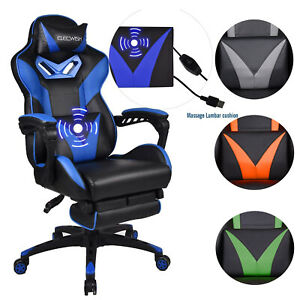 Massage Gaming Chair Video Racing Ergonomic Leather Office Recliner Footrest Pu
