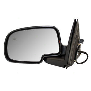 Power Mirror Glass For 1999 2002 Gm Truck Driver Side W Black Cap