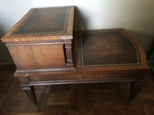 Leather Inlaid Heirloom Weiman End Table