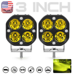 2x Led Work Light 3in Yellow Fog Offroad Driving Spot 4wd Utv Lamp Amber Pods Us