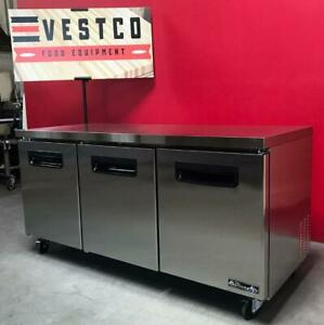 Blue Air Bluf72 3 door 72 Under Counter Reach in Stainless Freezer On Casters