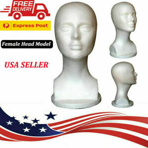 Female Styrofoam Foam Manikin Head Model Mannequin Shop Wig Hair Jewelry Display