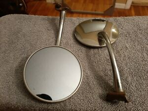 Vintage 1950 s Mirror Side View Vue Long Arm Chrome Clip On Rat Rod