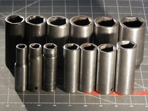 Snap On Tools 13pc Sae 1 2 Dr Deep Impact Socket Set 7 16 1 5 16 6pt