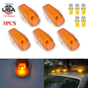 5pcs For Ford F150 F250 F350 Running Roof Top Cab Clearance Led Lights Amber Usa