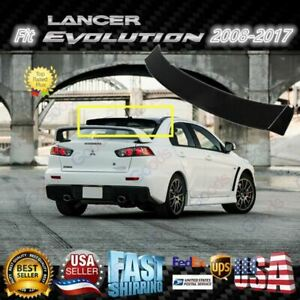 For 2008 17 Lancer Evo Mugen Style 3d Wavy Black Rear Roof Window Visor Spoiler