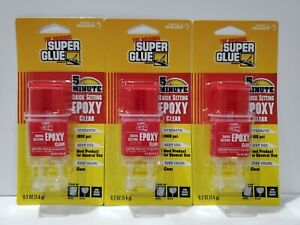 3 Packages The Original Super Glue 5 Quick Minute Setting Epoxy Clear 0 2 Oz