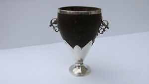 Antique Horn Silver Coin Silver Loving Cup Goblet One Of A Kind