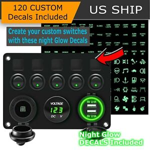 5 Gang Green Led Light On off Toggle Switch Control Panel For Car Boat Marine Rv