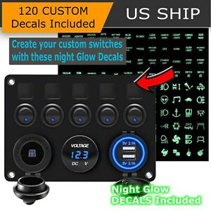 5 Gang Blue Led Light On Off Toggle Switch Control Panel For Car Boat Marine Rv