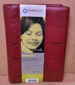 Franklin Covey5 5 X 8 5 Leadership Planning System Full Grain Leather Red