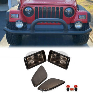 For 97 06 Jeep Wrangler Tj Smoke Plastic Bumper Signal Fender Side Marker Lights