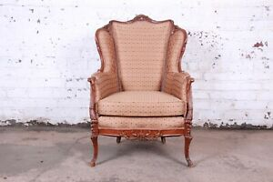 Antique French Carved Wing Back Lounge Chair