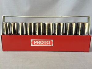 Proto Usa 5394 Sae 1 2 Drive 9pc Deep 6 Pt Socket Set 1 2 1 W Metal Tray