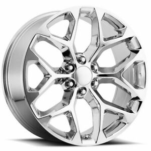 4 New 24 Gmc Replica Wheels Chrome Chevy Silverado Sierra Y Spoke 24s Snowflake