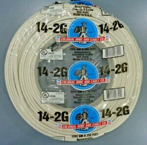 14 2 Romex Nm b Wire 250ft 14 2 Indoor Electrical Copper Wire Cable W ground Usa