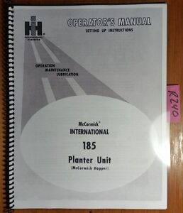 Ih International Harvester 185 Planter Unit Mccormick Hopper Operator Manual 64