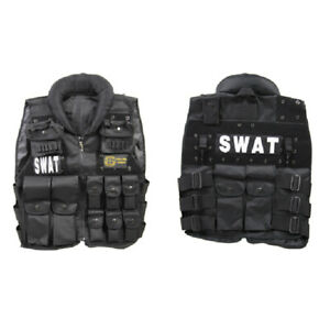 Black Deluxe Combat Military Airsoft Tactical SWAT Vest Halloween Paintball $37.99