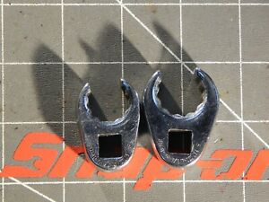 Snap On 2pc 3 8 Drive Flare Nut Crowfoot Wrench 5 8 11 16 Frh200 Frh220 12pt Dr