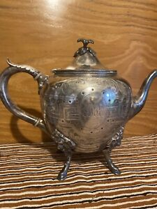 Antique Ornate Rogers Smith Co New Haven Conn Silver Plate Tea Pot 1857 62