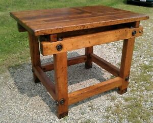 Antique Primitive Industrial Wooden Kitchen Island Work Table Refinished 1907s