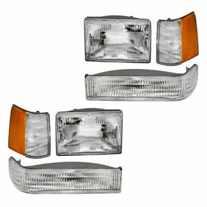 For 93 96 Jeep Grand Cherokee Headlights Signal Lights Side Markers Kit 6 Pc Set