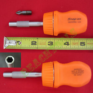 New Snap On Orange Hard Handle Stubby Magnetic Ratchet Screwdriver Ssdmr1a Usa