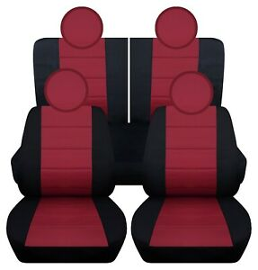 Front And Rear Car Seat Covers Fits 2010 2019 Fiat 500 Black And Burgundy