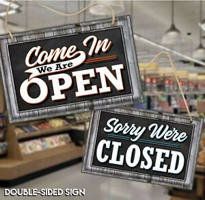 Open Closed Sign For Business Door Reversible Double Sided With Rope Hook