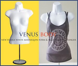 Woman Mannequin Body Dress Form White Haning Matal Base