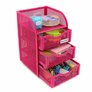 Easypag Mesh Desk Accessorie Organizer 3 Drawer Office Supplies Caddy Pink