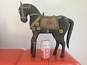 Vintage Hand Carved Wood And Brass Horse Figurine Large Rare Lots Of Details