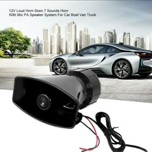 100w 12v Car Alarm Speaker Pa Siren Horn Mic Emergency Microphone 7 Sound