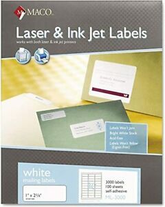 Maco Laser ink Jet White Address Labels 1 X 2 5 8 Inches 100 Sheets 3000 Per