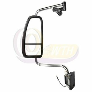 Chrome Truck Mirror For 1997 2010 International Harvester Mounting Plates Left