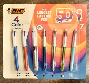 New Open Box Bic 4 Color Retractable Ballpoint Pens Long Lasting Ink 7 Count