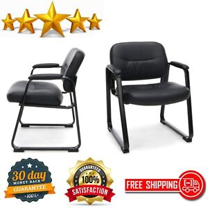 Executive Side Chair Bonded Leather With Sled Base Reception Office Furniture