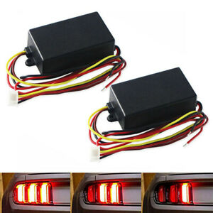 Hot 2pcs 3 step Sequential Flow Semi Dynamic Chase Flash Tail Light Module Boxes