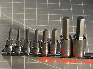 New Snap On Tools 8pc Sae 3 8 1 2 Dr Hex Allen Socket Set 5 32 3 8 1 2 9 16