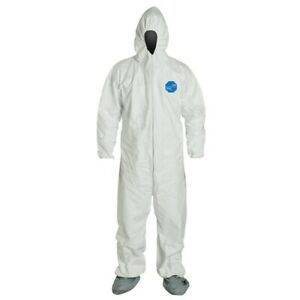 Dupont Tyvek400 Ty122s Coverall With Hood And Boots Size M free Shipping